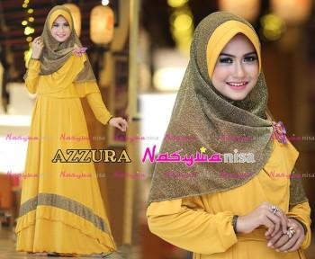 Busana Muslimah Wanita Syar'i Azzura by Naswanisa Kuning Kunyit