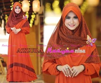 Busana Muslimah Wanita Syar'i Azzura by Naswanisa Merah Bata