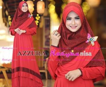 Busana Muslimah Wanita Syar'i Azzura by Naswanisa Merah Kepinkan