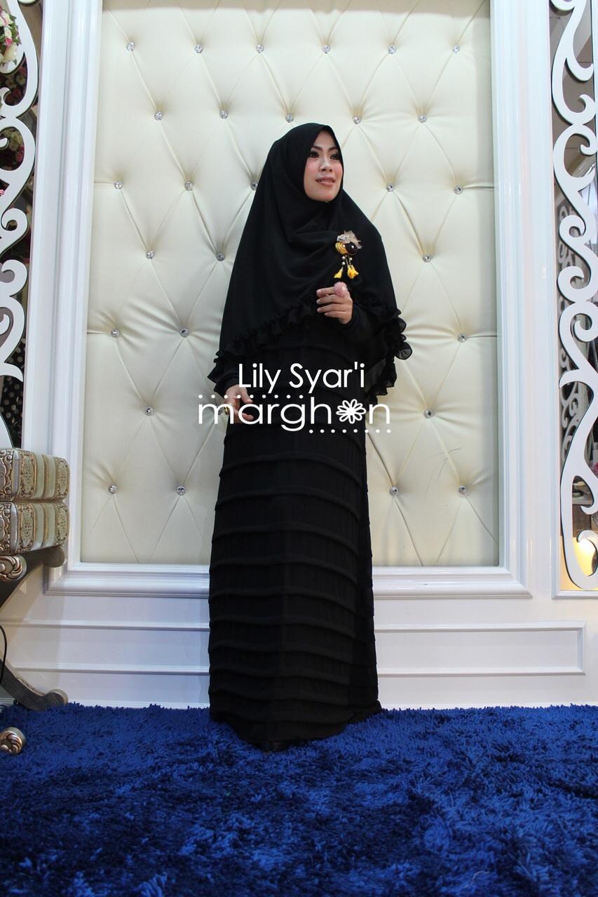 Lily Syar I Hitam Baju Muslim Gamis Modern