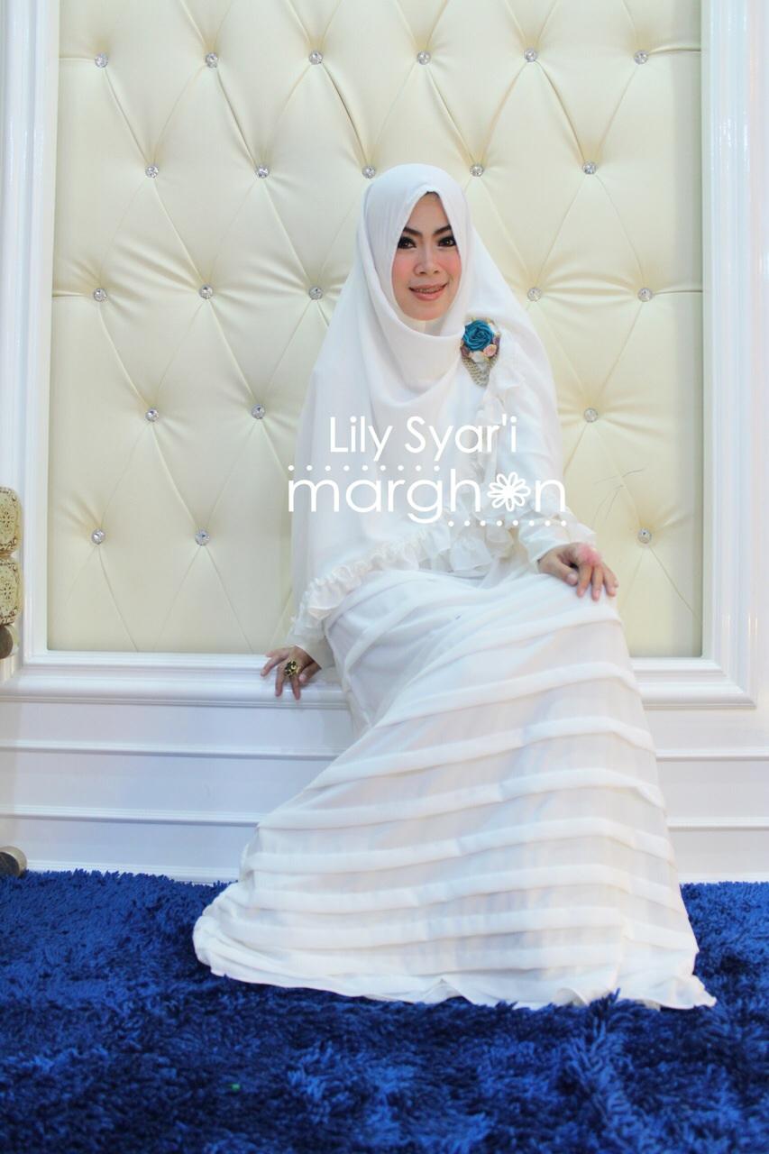 Lily Syar I Putih Baju Muslim Gamis Modern