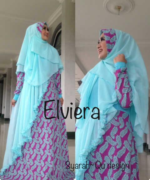 Koleksi Busana Muslim Terbaru 2015 Elviera vol.2 by Syarahqu Design Biru Fanta