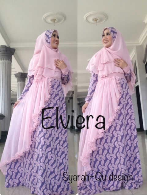 Koleksi Busana Muslim Terbaru 2015 Elviera vol.2 by Syarahqu Design Dusty Ungu