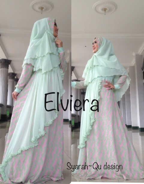 Koleksi Busana Muslim Terbaru 2015 Elviera vol.2 by Syarahqu Design Hijau
