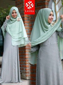 Koleksi Busana Muslim Terbaru De'key by Layra Hijau Telur Asin
