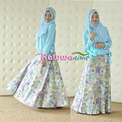 Koleksi Terbaru Busana Muslim Atas Bawah Zara by Hawwaaiwa Soft Blue