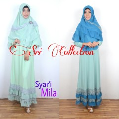 Koleksi Terbaru Busana Muslim Wanita Mila Syar'i by Sri Collection Mint & Tosca