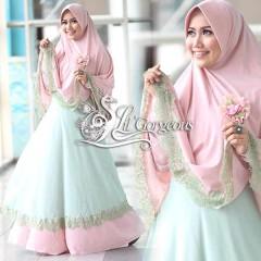 Koleksi Terbaru Busana Muslim Wanita Modern Renda Syar'i by Lil Gorgeous Baby Pink - Hijau