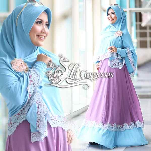 Renda Biru Ungu Lavender Baju Muslim Gamis Modern
