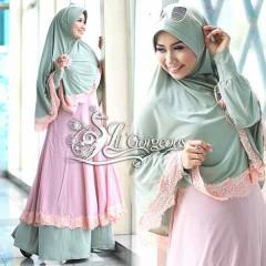 Koleksi Terbaru Busana Muslim Wanita Modern Renda Syar'i by Lil Gorgeous Hijau - Baby Pink
