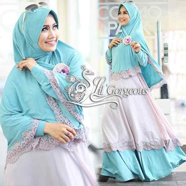Renda Hijau Tosca Baby Pink Baju Muslim Gamis Modern