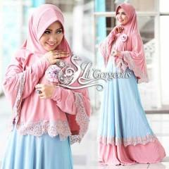 Koleksi Terbaru Busana Muslim Wanita Modern Renda Syar'i by Lil Gorgeous Pink - Biru Muda
