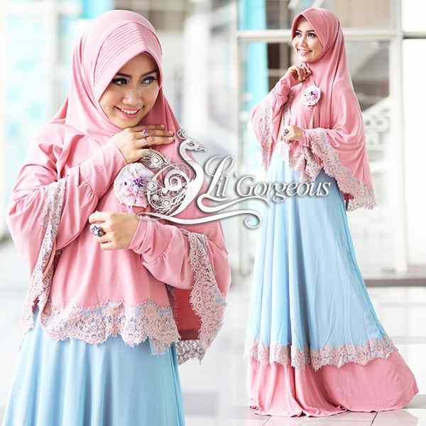 Renda Pink Biru Muda Baju Muslim Gamis Modern