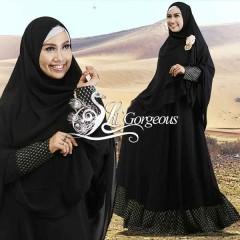 Model Terbaru Busana Muslim Syar'i Snow Dress Syar'i by Lil Gorgeous Black-White