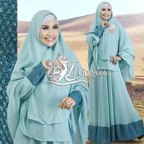 Model Terbaru Busana Muslim Syar'i Snow Dress Syar'i by Lil Gorgeous Blue
