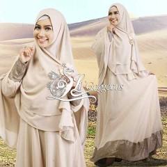 Model Terbaru Busana Muslim Syar'i Snow Dress Syar'i by Lil Gorgeous Cream