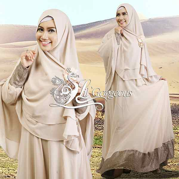 Model Terbaru Busana Muslim Syar'i Snow Dress Syar'i by Lil Gorgeous Cream