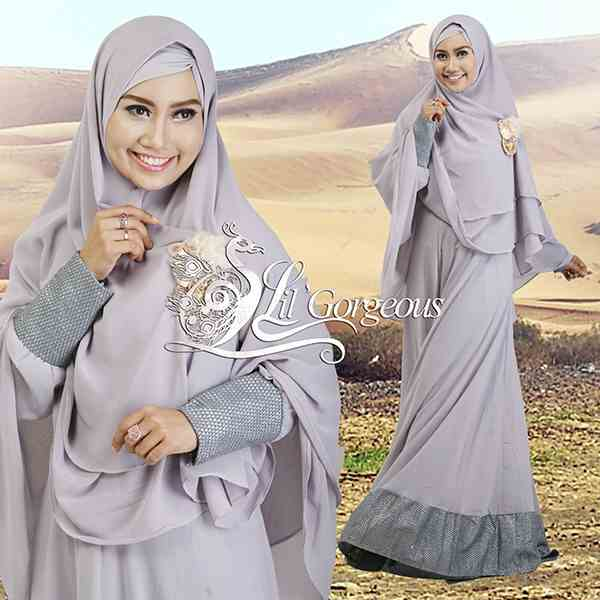 Model Terbaru Busana Muslim Syar'i Snow Dress Syar'i by Lil Gorgeous Grey