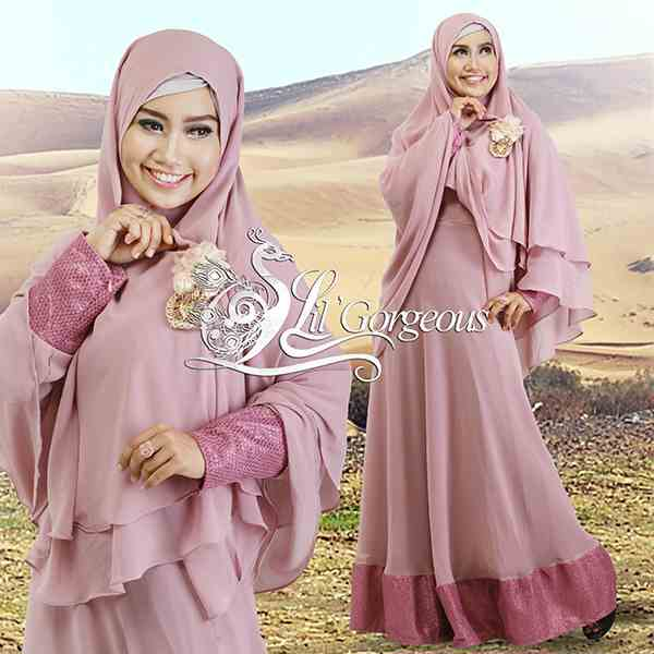 Model Terbaru Busana Muslim Syar'i Snow Dress Syar'i by Lil Gorgeous Pink