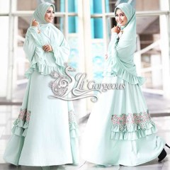 Trend Busana Muslim Syar'i Terbaru Fidha by Lil Gorgeous Hijau Mint Muda