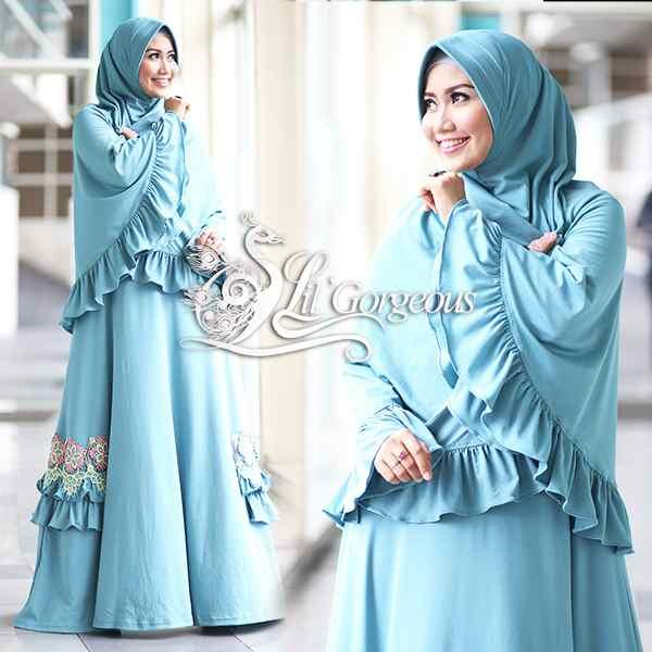 Fidha 2 Hijau Tosca Muda Baju Muslim Gamis Modern