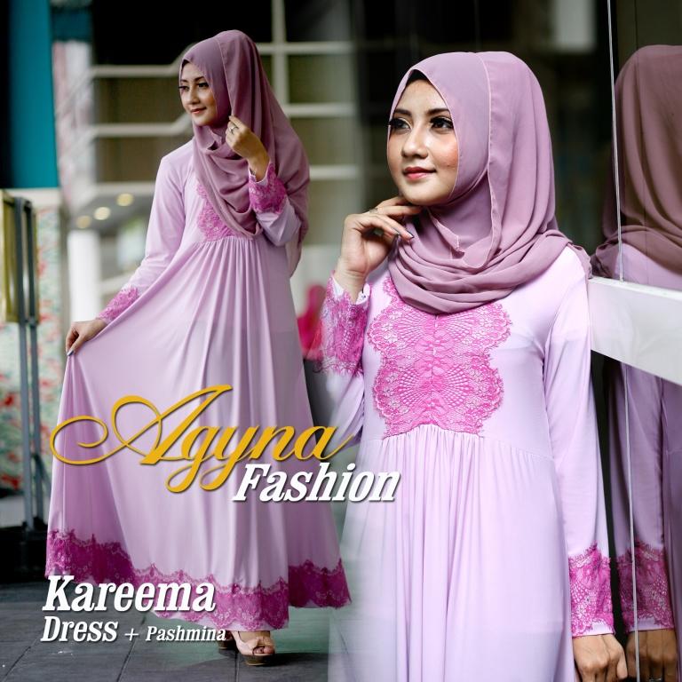 Trend Busana Muslim Wanita Modern Kareema by Agyna Pink Purple