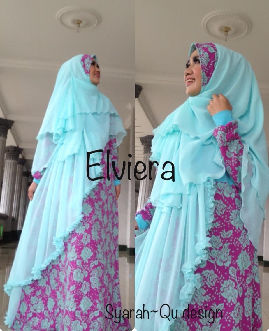 Trend Busana Muslim Wanita Syar'i Elvierna Biru Fanta