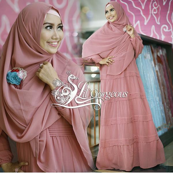 Trend Terbaru Busana Muslim Opnasel by Lil Gorgeous Dusty Pink