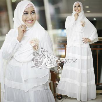 Opnasel Putih Baju Muslim Gamis Modern