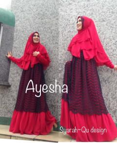 Trend Terbaru Busana Muslim Wanita Syar'i Ayesha by Syarahqu Design (1) Merah