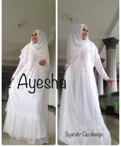 Ayesha Putih Baju Muslim Gamis Modern