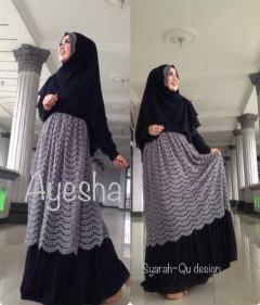Trend Terbaru Busana Muslim Wanita Syar'i Ayesha by Syarahqu Design (6) Hitam