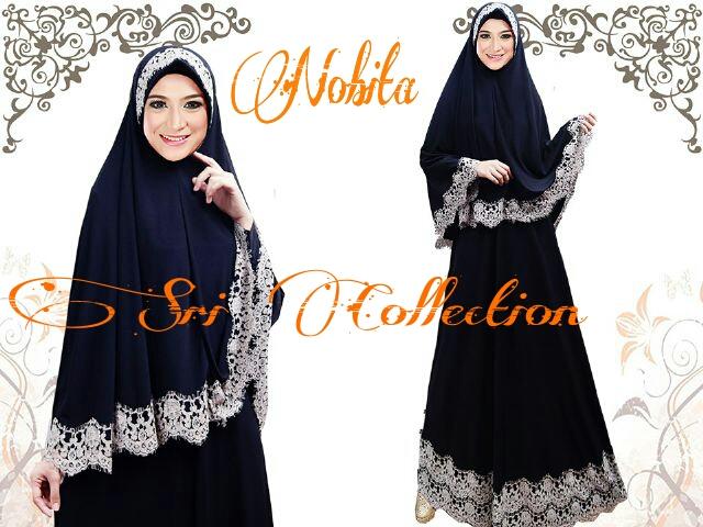 Nobita Syar I Hitam Baju Muslim Gamis Modern