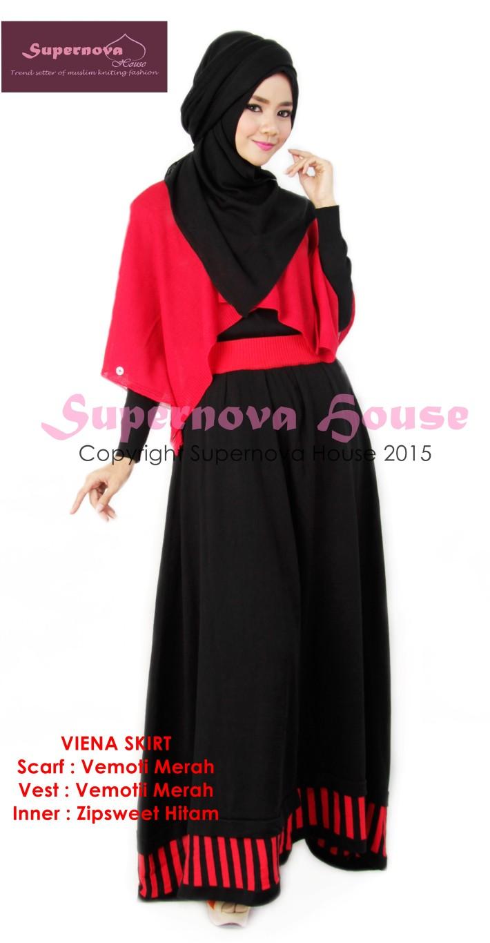 Vemoti Scarf Hitam Baju Muslim Gamis Modern