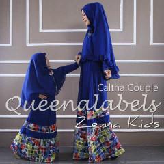 Busana Muslim Couple Ibu & Anak Terbaru Caltha by Quennalabel Biru Elektrik