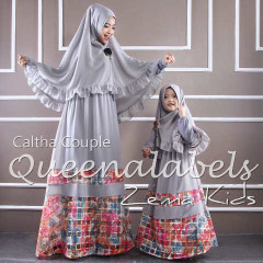 Busana Muslim Couple Ibu & Anak Terbaru Caltha by Quennalabel Grey