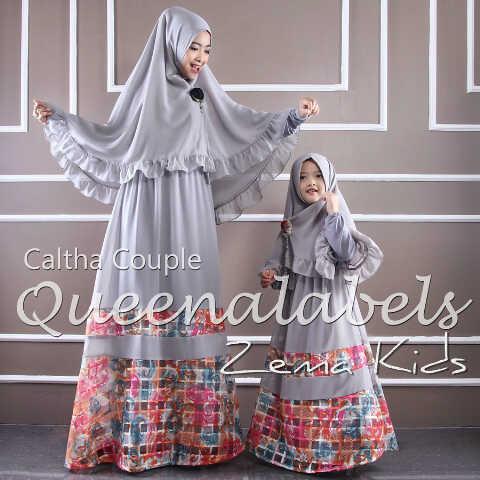 Caltha 3 Grey Baju Muslim Gamis Modern