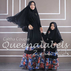 Busana Muslim Couple Ibu & Anak Terbaru Caltha by Quennalabel Hitam
