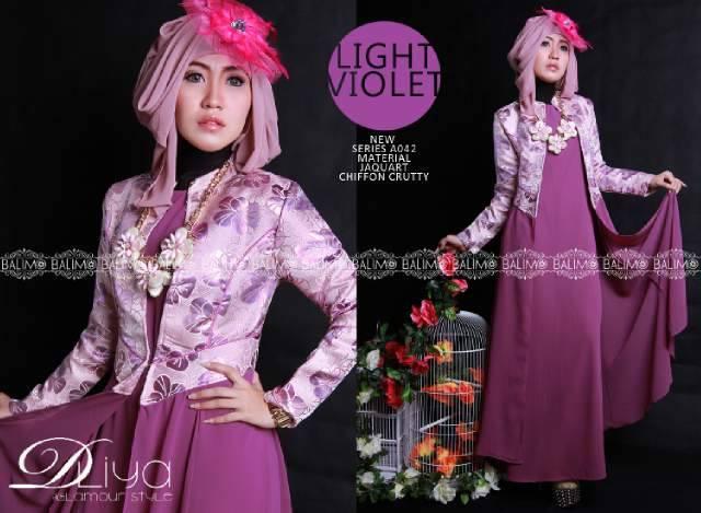 Balimo Dliya Light Violet Baju Muslim Gamis Modern