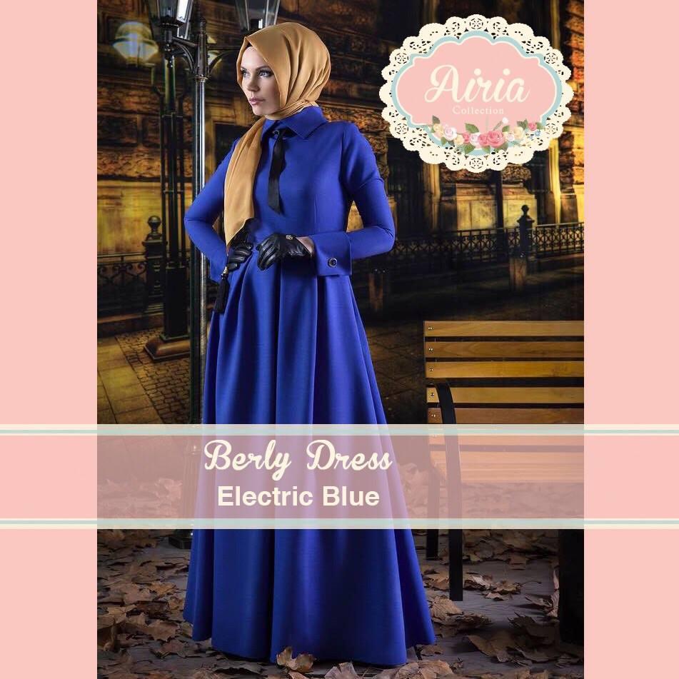 Berly Dress Electric Blue Baju Muslim Gamis Modern