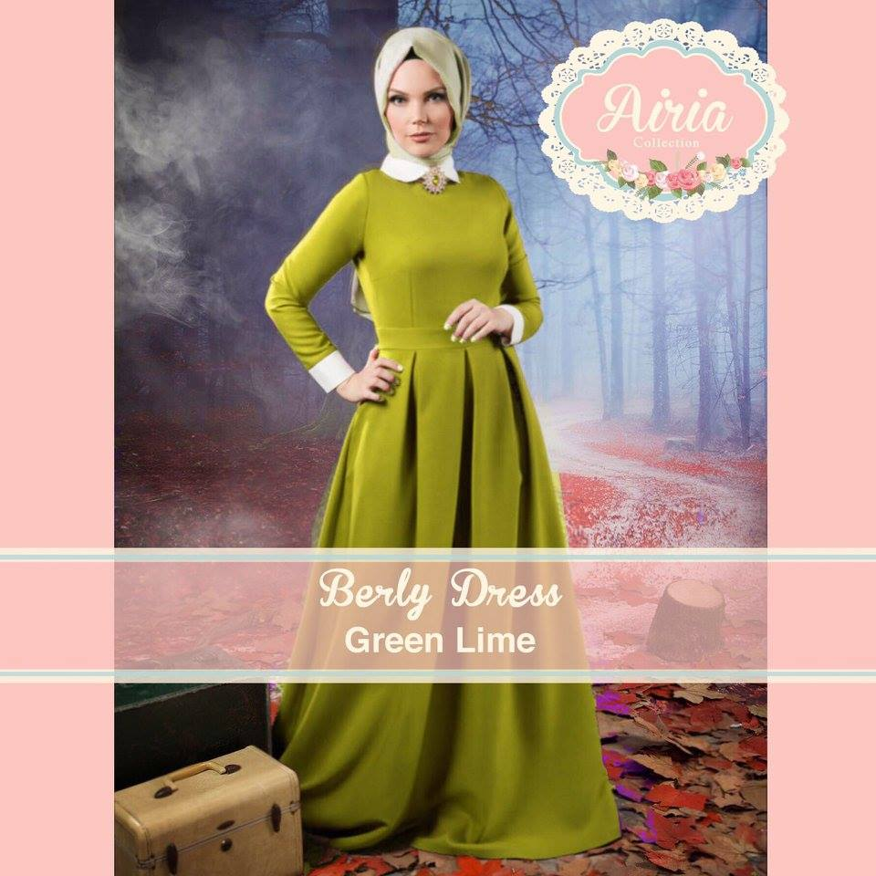 Busana Muslim Pesta Modern Terbaru Berly Dress Green Lime