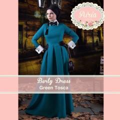 Busana Muslim Pesta Modern Terbaru Berly Dress Green Tosca
