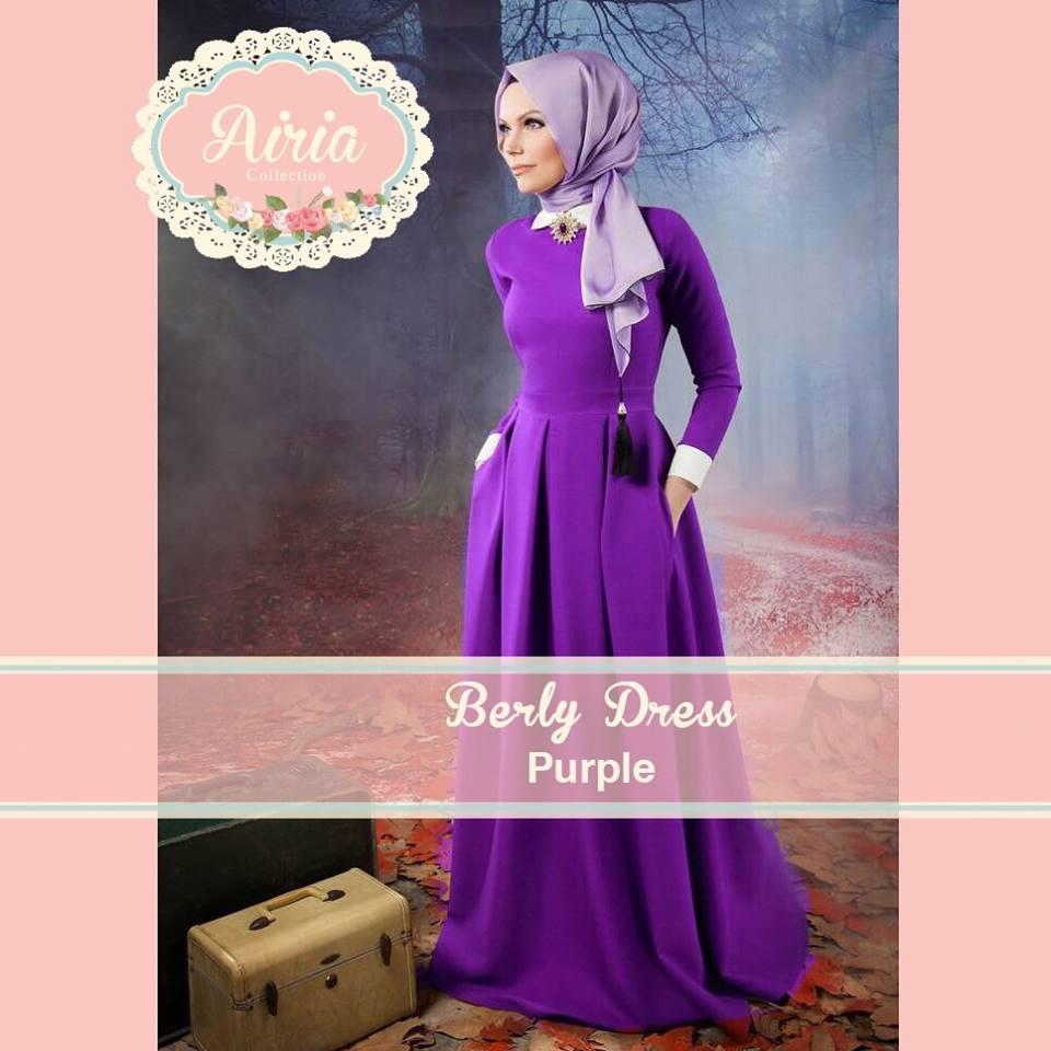 Berly Dress Purple Baju Muslim Gamis Modern