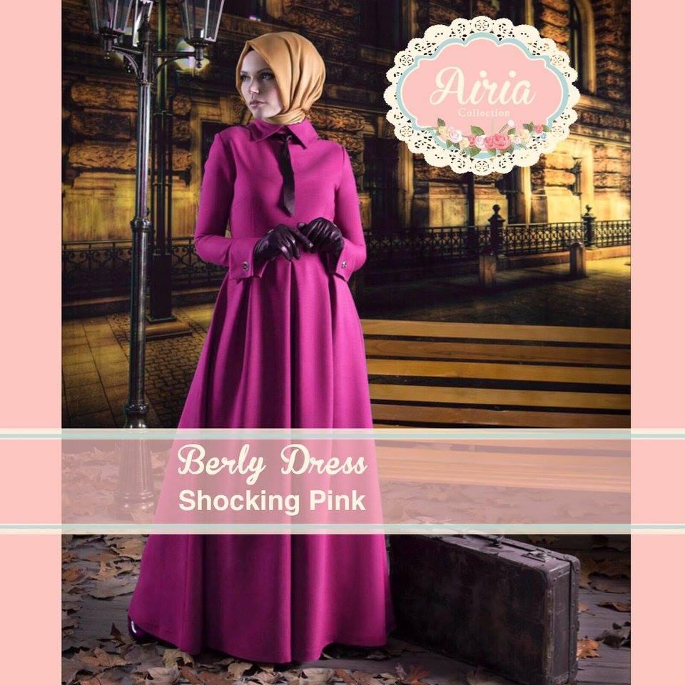 Berly Dress Shocking Pink Baju Muslim Gamis Modern