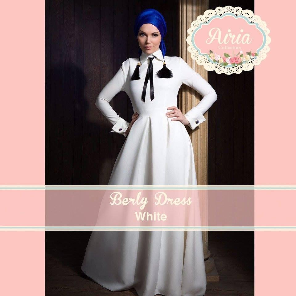 Berly Dress White Baju Muslim Gamis Modern