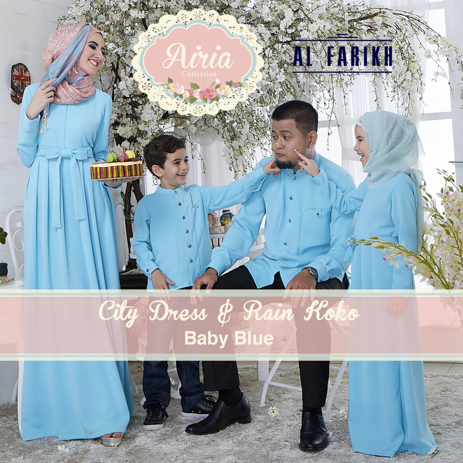 Busana Muslim Sarimbit Keluarga City Dress & Rain Koko by Airia Baby Blue