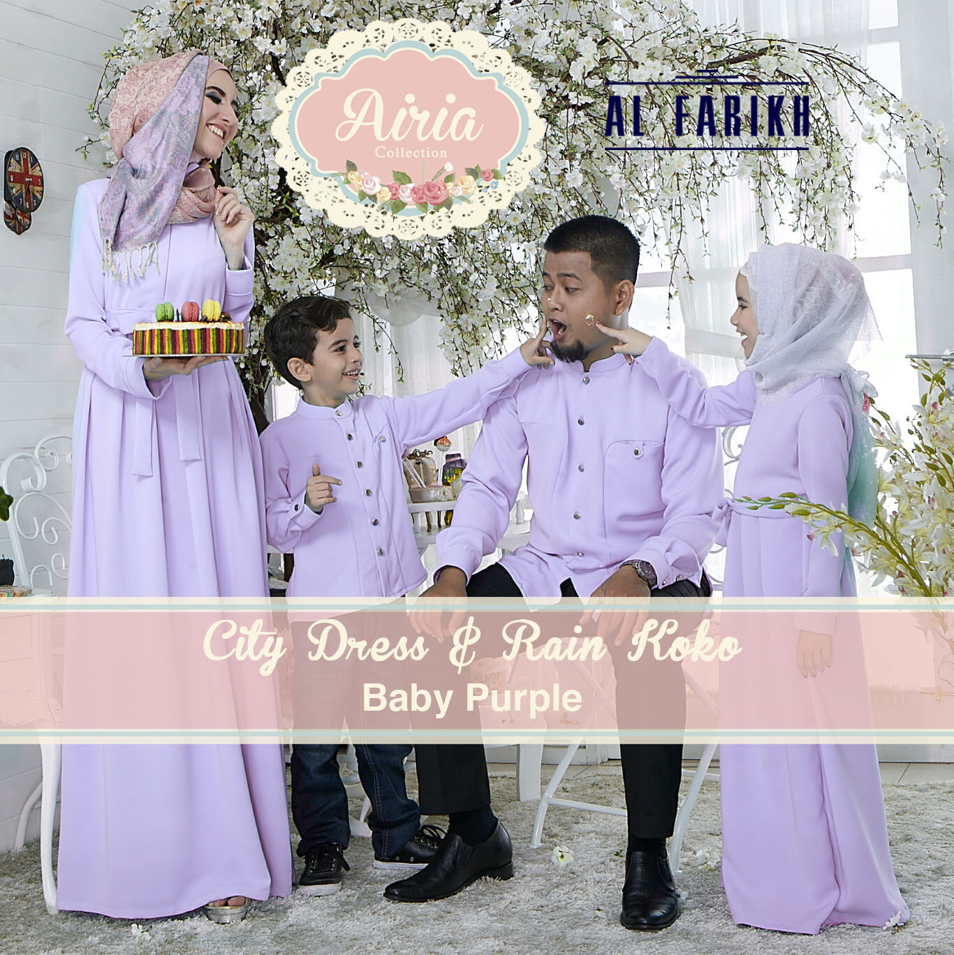 Busana Muslim Sarimbit Keluarga City Dress & Rain Koko by Airia Baby Purple