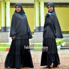 Busana Muslim Syar'i Terbaru Kirana Dress by Fakhria Hitam