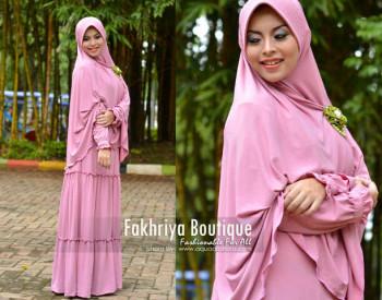 Busana Muslim Syar'i Terbaru Kirana Dress by Fakhria Pink