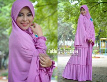 Busana Muslim Syar'i Terbaru Kirana Dress by Fakhria Ungu Muda
